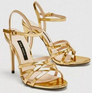 NWT Zara Gold Strappy Heels Sandals US 9